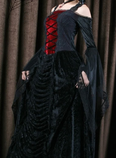 6267960d6a7 GOTHIC NANA dlouhé krajkové šaty - vampire